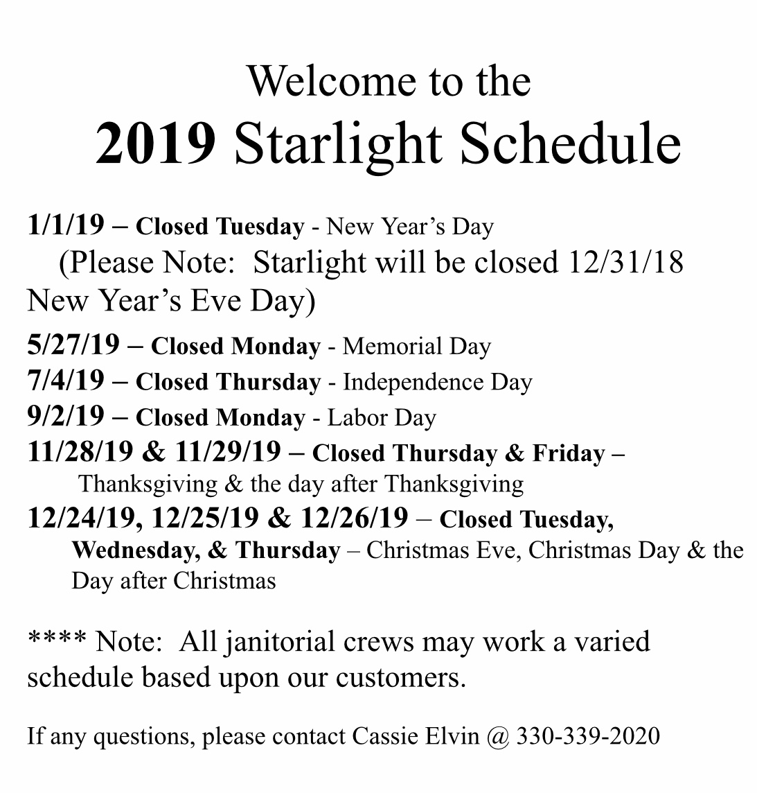 Starlight's  Calendar of closed days in 2019